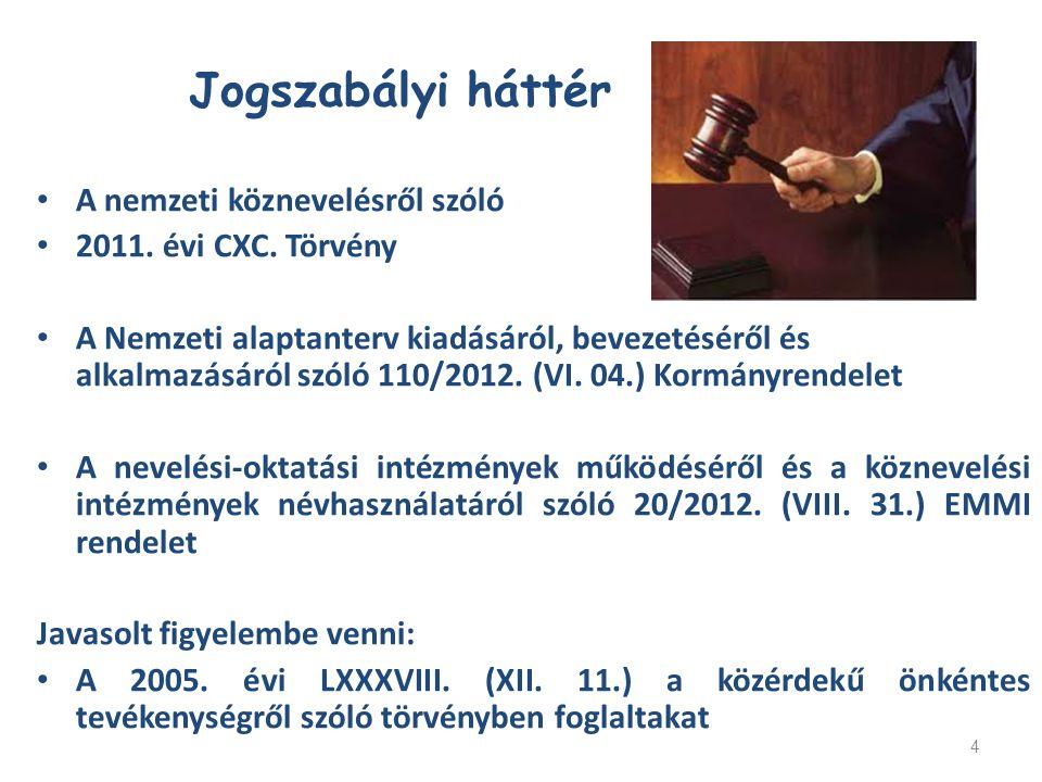4 A nemzeti köznevelésről szóló 2011. évi CXC. Törvény A Nemzeti alaptanterv kiadásáról, bevezetéséről és alkalmazásáról szóló 110/2012. (VI. 04.) Kor