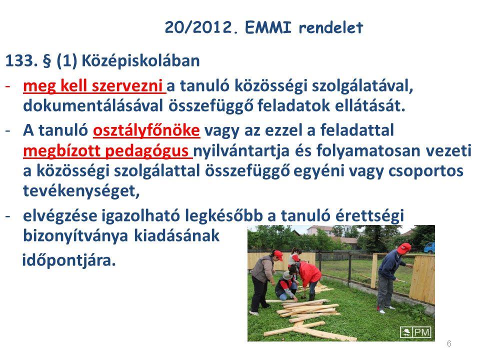 6 20/2012. EMMI rendelet 133. § (1) Középiskolában -meg kell szervezni a tanuló közösségi szolgálatával, dokumentálásával összefüggő feladatok ellátás