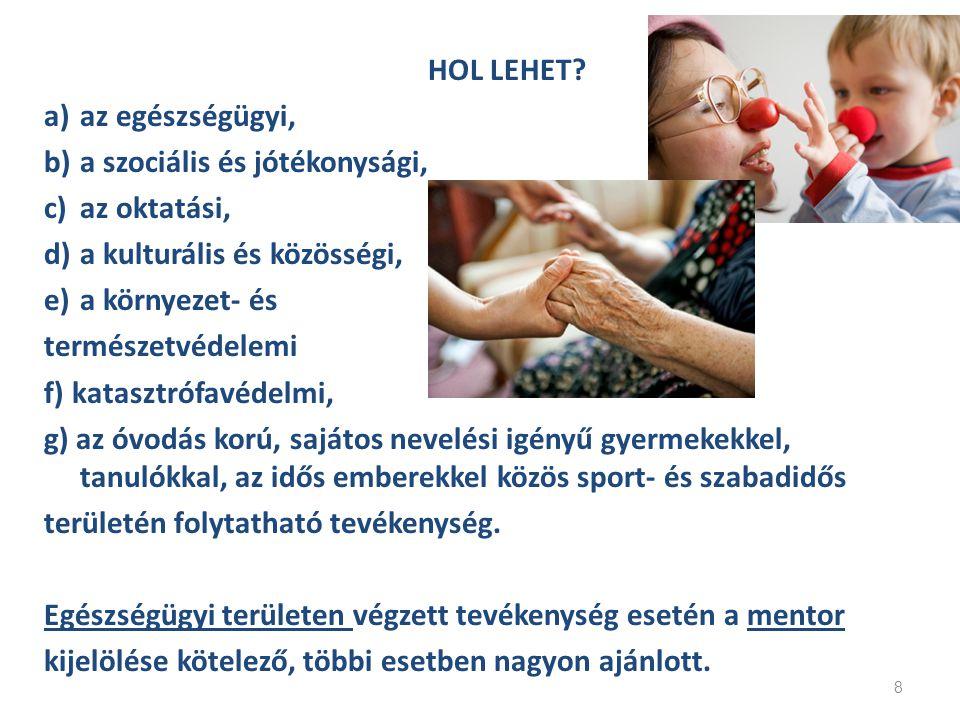 HOL LEHET? a)az egészségügyi, b)a szociális és jótékonysági, c)az oktatási, d)a kulturális és közösségi, e)a környezet- és természetvédelemi f) katasz