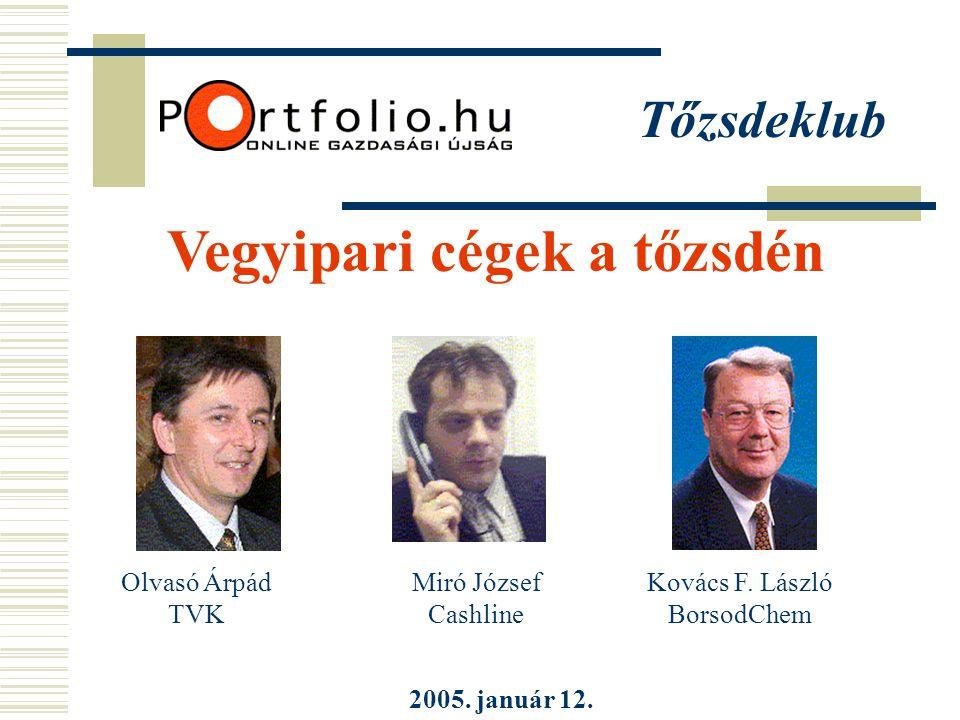 Tőzsdeklub Vegyipari cégek a tőzsdén 2005. január 12.