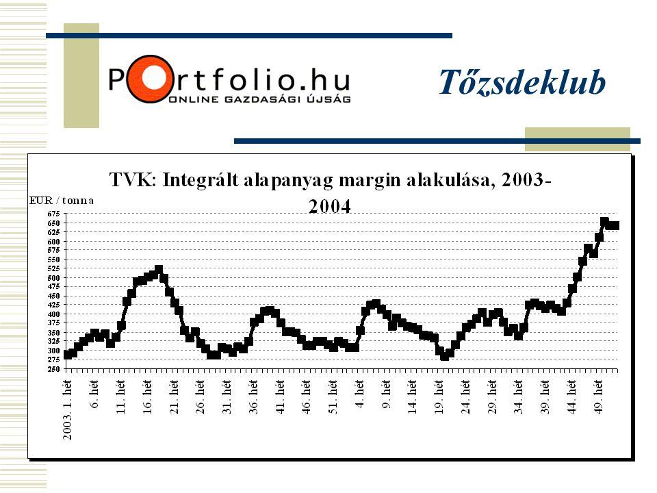 Fontosabb teljesítménymutatók, TVK (2002-Q3 2004)