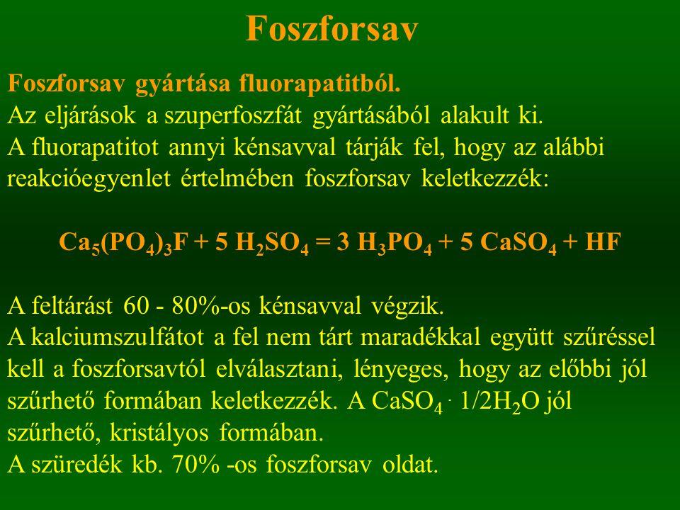 Foszforsav Foszforsav gyártása fluorapatitból. Az eljárások a szuperfoszfát gyártásából alakult ki. A fluorapatitot annyi kénsavval tárják fel, hogy a