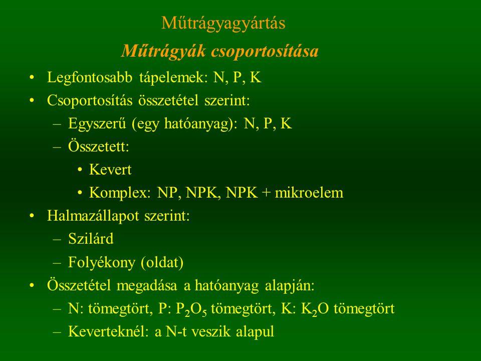 Műtrágyák csoportosítása Legfontosabb tápelemek: N, P, K Csoportosítás összetétel szerint: –Egyszerű (egy hatóanyag): N, P, K –Összetett: Kevert Komplex: NP, NPK, NPK + mikroelem Halmazállapot szerint: –Szilárd –Folyékony (oldat) Összetétel megadása a hatóanyag alapján: –N: tömegtört, P: P 2 O 5 tömegtört, K: K 2 O tömegtört –Keverteknél: a N-t veszik alapul Műtrágyagyártás