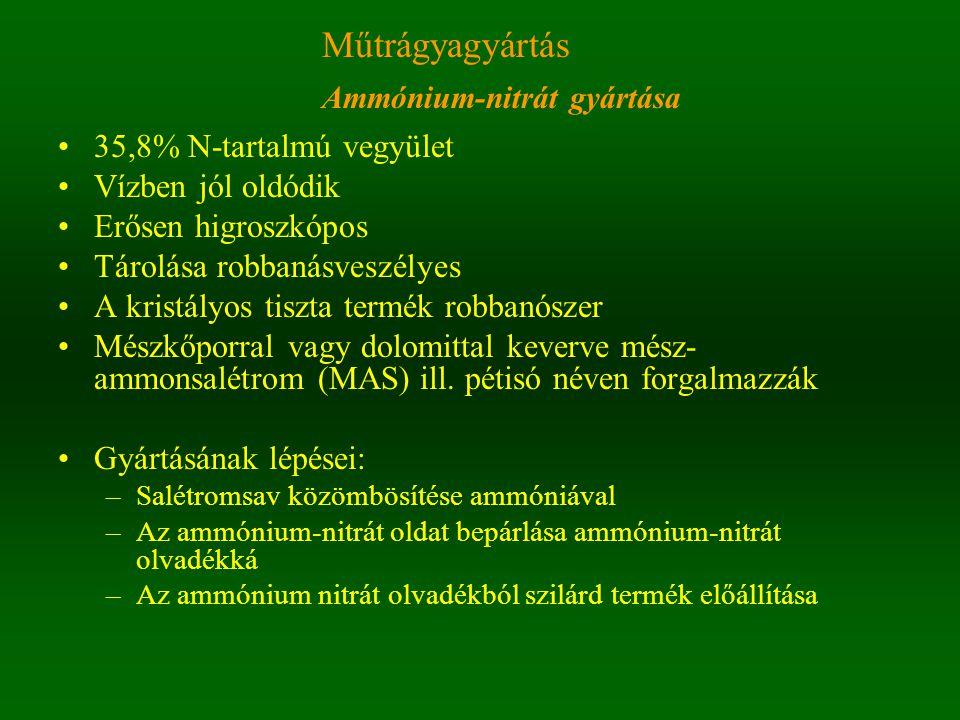 35,8% N-tartalmú vegyület Vízben jól oldódik Erősen higroszkópos Tárolása robbanásveszélyes A kristályos tiszta termék robbanószer Mészkőporral vagy dolomittal keverve mész- ammonsalétrom (MAS) ill.