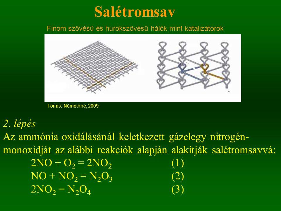 Salétromsav 2. lépés Az ammónia oxidálásánál keletkezett gázelegy nitrogén- monoxidját az alábbi reakciók alapján alakítják salétromsavvá: 2NO + O 2 =