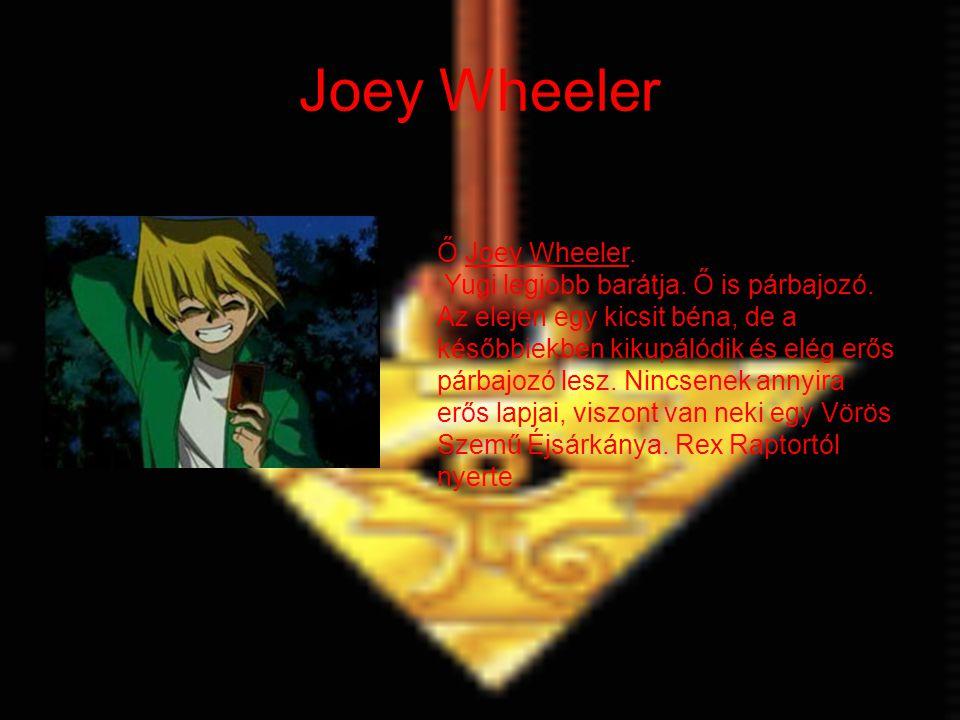 Joey Wheeler Ő Joey Wheeler. Yugi legjobb barátja. Ő is párbajozó. Az elején egy kicsit béna, de a későbbiekben kikupálódik és elég erős párbajozó les