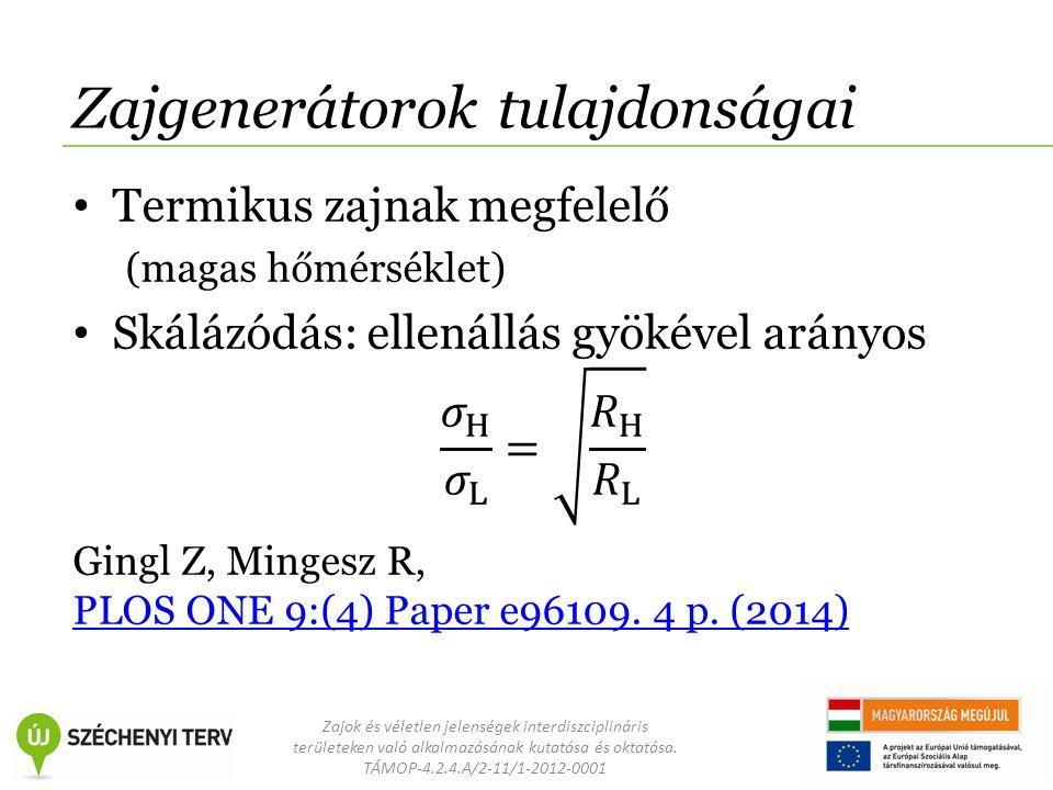 Zajok és véletlen jelenségek interdiszciplináris területeken való alkalmazásának kutatása és oktatása. TÁMOP-4.2.4.A/2-11/1-2012-0001 Zajgenerátorok t