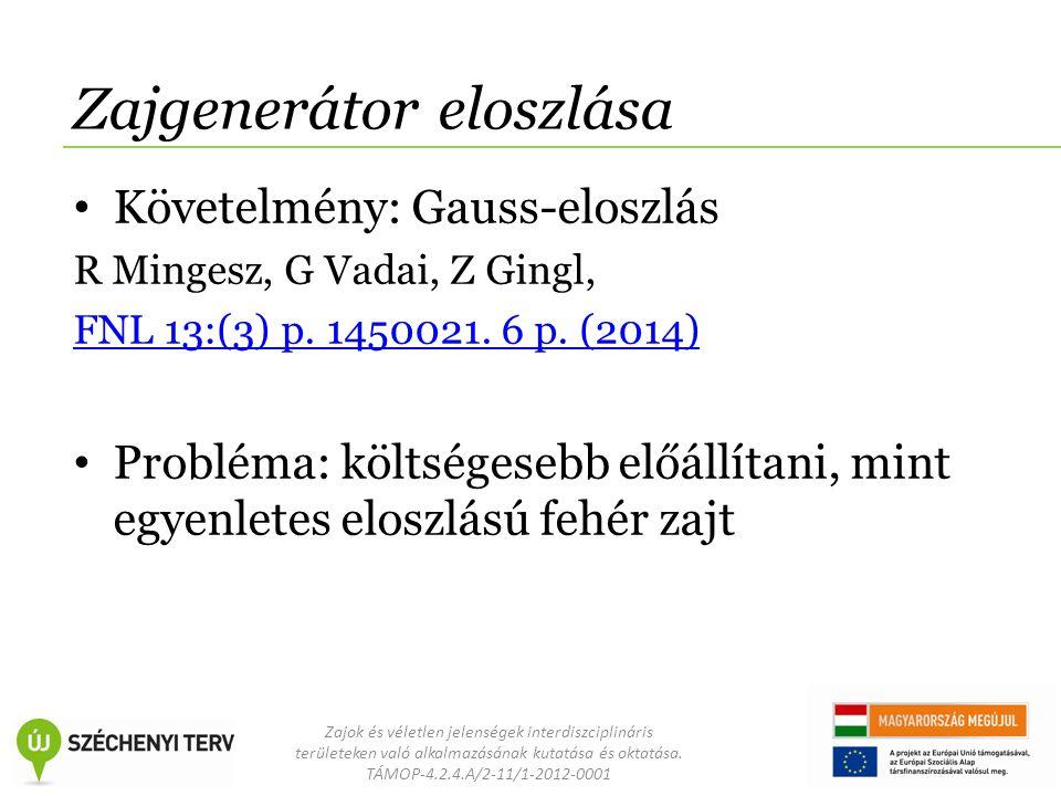Zajok és véletlen jelenségek interdiszciplináris területeken való alkalmazásának kutatása és oktatása. TÁMOP-4.2.4.A/2-11/1-2012-0001 Zajgenerátor elo