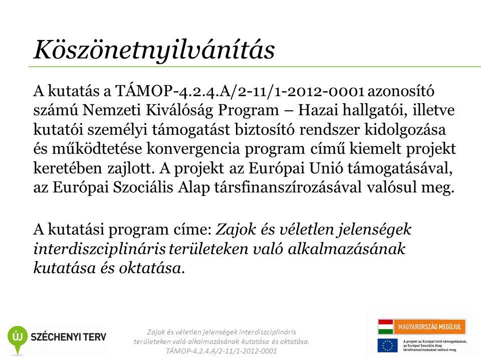 Zajok és véletlen jelenségek interdiszciplináris területeken való alkalmazásának kutatása és oktatása. TÁMOP-4.2.4.A/2-11/1-2012-0001 Köszönetnyilvání