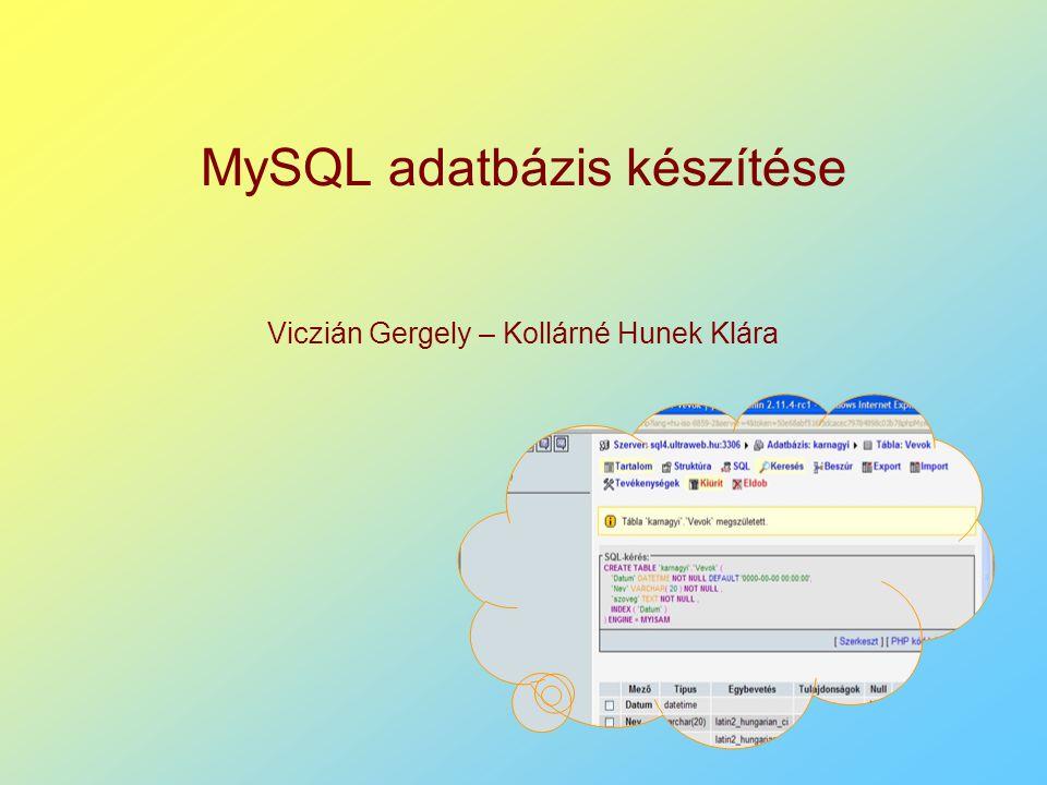 MySQL adatbázis készítése Viczián Gergely – Kollárné Hunek Klára