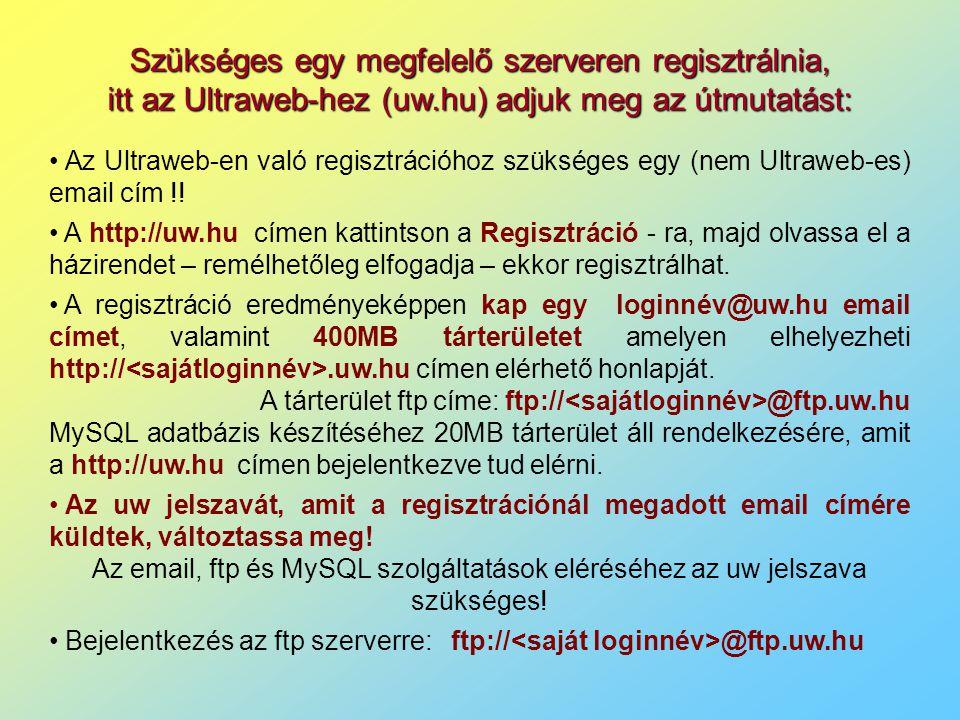 Szükséges egy megfelelő szerveren regisztrálnia, itt az Ultraweb-hez (uw.hu) adjuk meg az útmutatást: Az Ultraweb-en való regisztrációhoz szükséges egy (nem Ultraweb-es) email cím !.