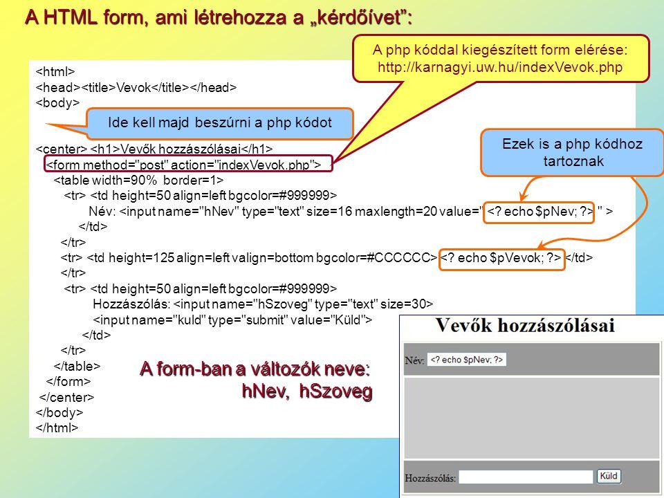 """A HTML form, ami létrehozza a """"kérdőívet : Vevok Vevők hozzászólásai Név: > Hozzászólás: Ide kell majd beszúrni a php kódot Ezek is a php kódhoz tartoznak A form-ban a változók neve: hNev, hSzoveg A php kóddal kiegészített form elérése: http://karnagyi.uw.hu/indexVevok.php"""
