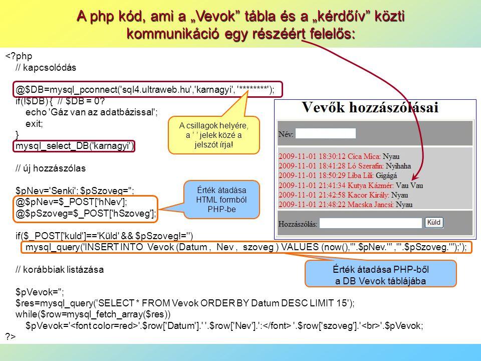 """A php kód, ami a """"Vevok tábla és a """"kérdőív közti kommunikáció egy részéért felelős: <?php // kapcsolódás @$DB=mysql_pconnect( sql4.ultraweb.hu , karnagyi , ******** ); if(!$DB) { // $DB = 0."""