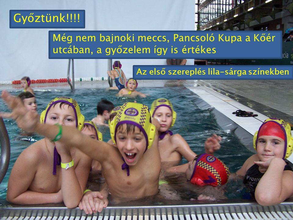Győztünk!!!! Még nem bajnoki meccs, Pancsoló Kupa a Kőér utcában, a győzelem így is értékes Az első szereplés lila-sárga színekben