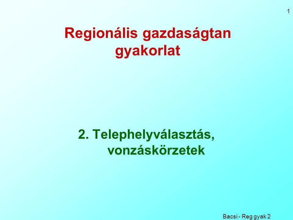 Bacsi - Reg gyak 2 12 Városok vonzáskörzeteinek határa M j / j 2 = M k /k 2, ahol j+k = d Azaz: k 2 / j 2 = M k / M j Azaz: k /j =  ( M k / M j ) vagyis a vonzáskörzet-határ távolsága a két településtől megegyezik a népességek arányának négyzetgyökével