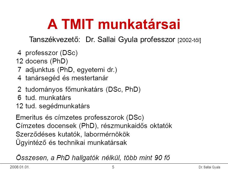 2008.01.01.Dr. Sallai Gyula5 A TMIT munkatársai Tanszékvezető: Dr. Sallai Gyula professzor [2002-től] 4 professzor (DSc) 12 docens (PhD) 7 adjunktus (