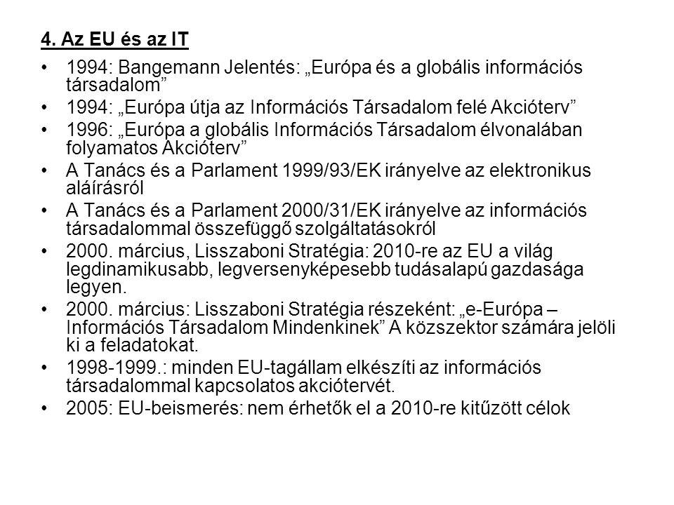 """4. Az EU és az IT 1994: Bangemann Jelentés: """"Európa és a globális információs társadalom"""" 1994: """"Európa útja az Információs Társadalom felé Akcióterv"""""""
