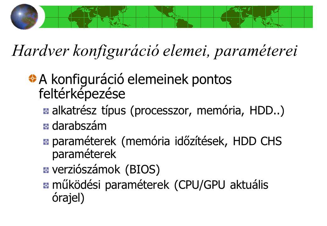 Hardver konfiguráció elemei, paraméterei A konfiguráció elemeinek pontos feltérképezése alkatrész típus (processzor, memória, HDD..) darabszám paraméterek (memória időzítések, HDD CHS paraméterek verziószámok (BIOS) működési paraméterek (CPU/GPU aktuális órajel)