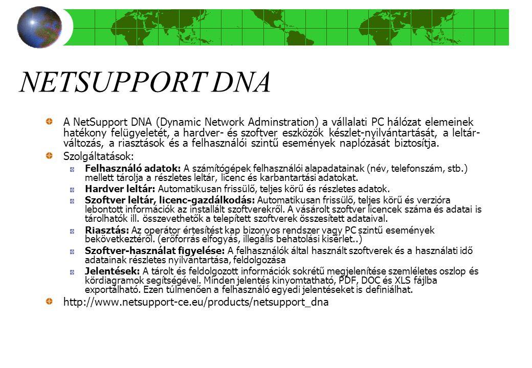 NETSUPPORT DNA A NetSupport DNA (Dynamic Network Adminstration) a vállalati PC hálózat elemeinek hatékony felügyeletét, a hardver- és szoftver eszközök készlet-nyilvántartását, a leltár- változás, a riasztások és a felhasználói szintű események naplózását biztosítja.