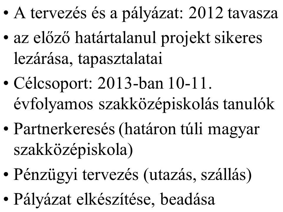 A tervezés és a pályázat: 2012 tavasza az előző határtalanul projekt sikeres lezárása, tapasztalatai Célcsoport: 2013-ban 10-11.