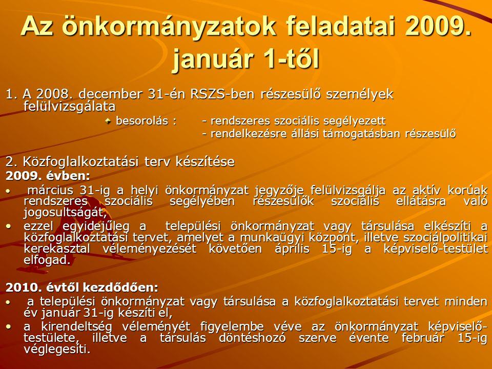 Az önkormányzatok feladatai 2009. január 1-től 1. A 2008. december 31-én RSZS-ben részesülő személyek felülvizsgálata besorolás : - rendszeres szociál