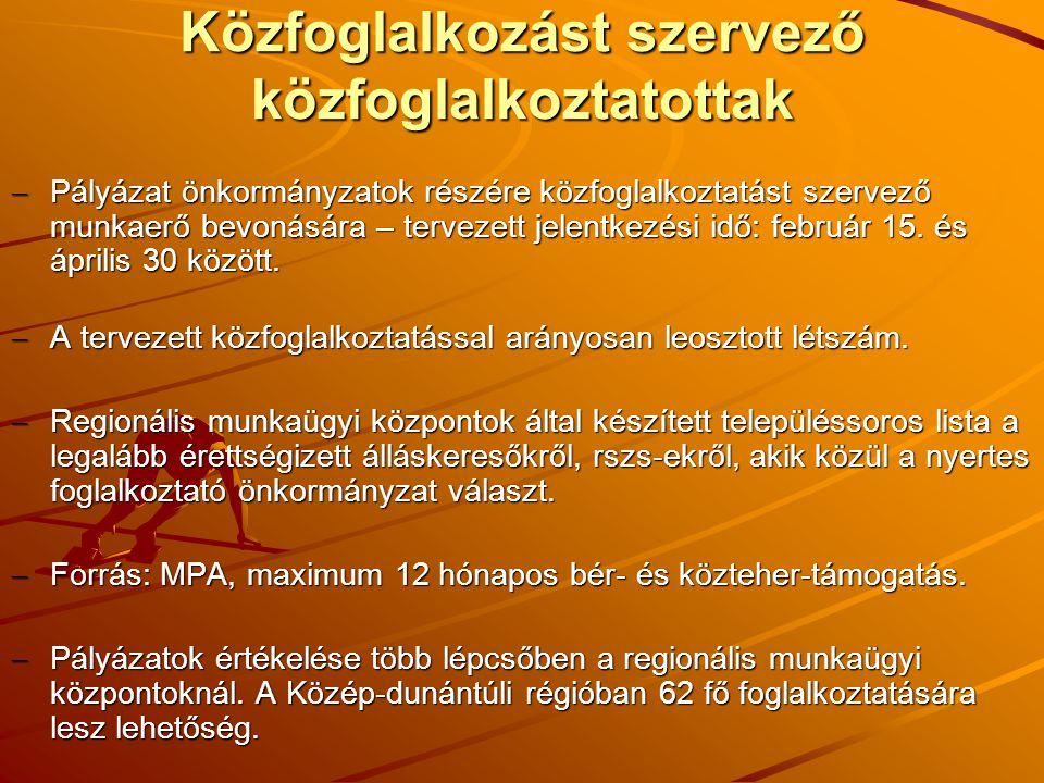 Közfoglalkozást szervező közfoglalkoztatottak  Pályázat önkormányzatok részére közfoglalkoztatást szervező munkaerő bevonására – tervezett jelentkezési idő: február 15.