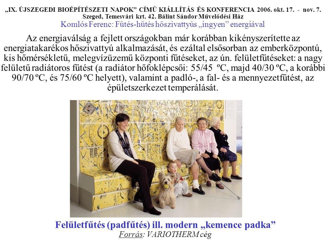 """Felületfűtés (padfűtés) ill. modern """"kemence padka Forrás: VARIOTHERM cég """"IX."""