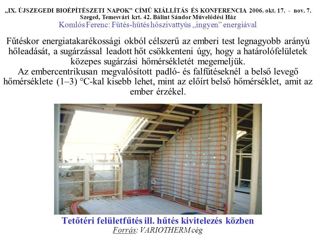 """Tetőtéri felületfűtés ill. hűtés kivitelezés közben Forrás: VARIOTHERM cég """"IX."""