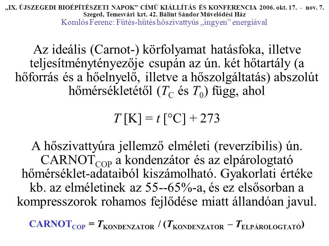 Az ideális (Carnot-) körfolyamat hatásfoka, illetve teljesítménytényezője csupán az ún.