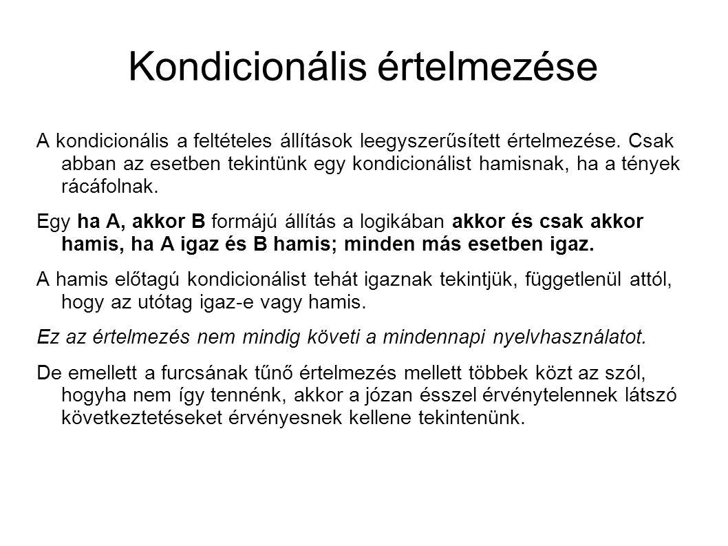 Kondicionális értelmezése A kondicionális a feltételes állítások leegyszerűsített értelmezése.