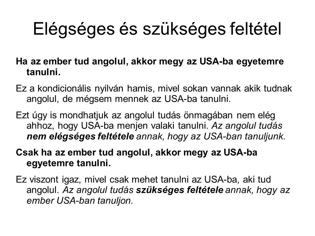 Elégséges és szükséges feltétel Ha az ember tud angolul, akkor megy az USA-ba egyetemre tanulni.