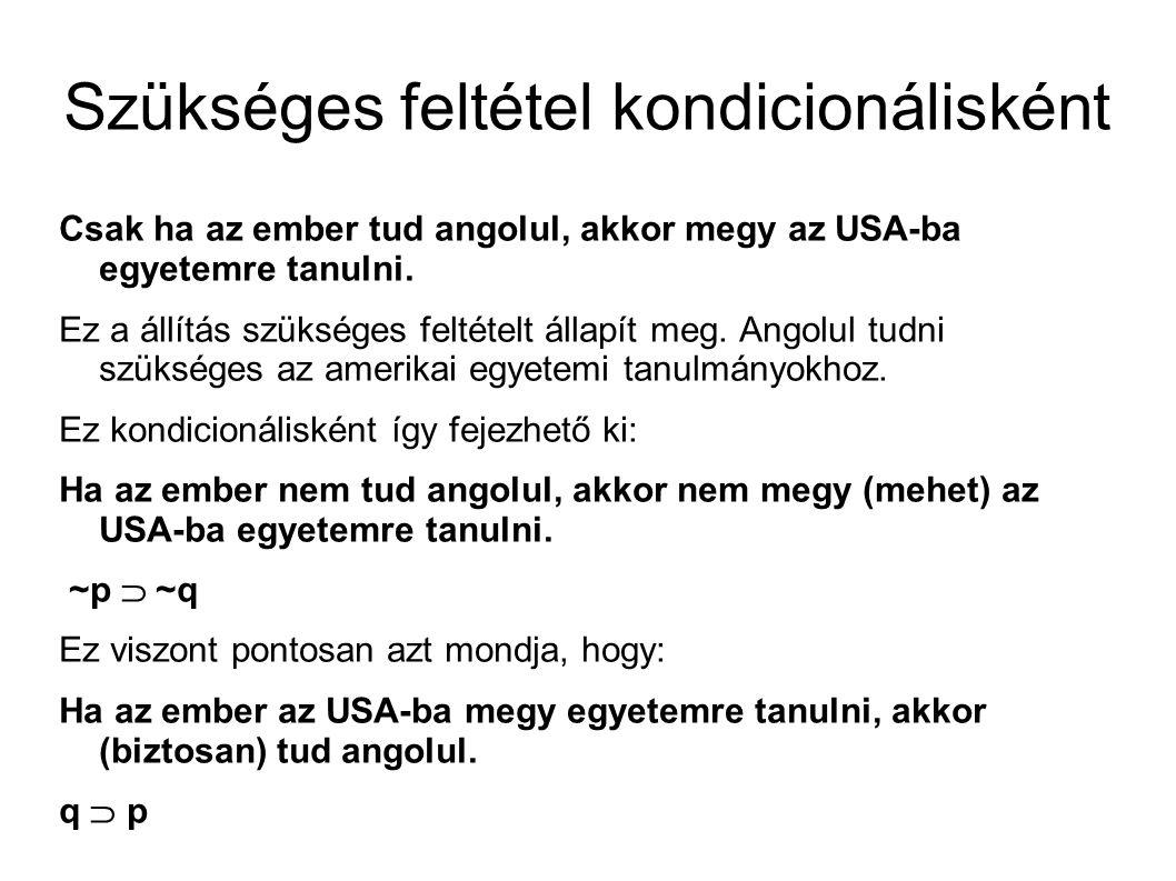 Szükséges feltétel kondicionálisként Csak ha az ember tud angolul, akkor megy az USA-ba egyetemre tanulni.