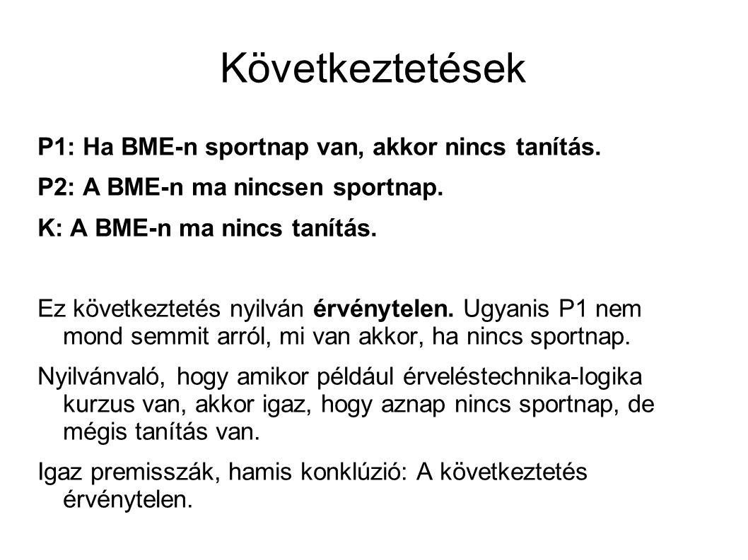 Következtetések P1: Ha BME-n sportnap van, akkor nincs tanítás.