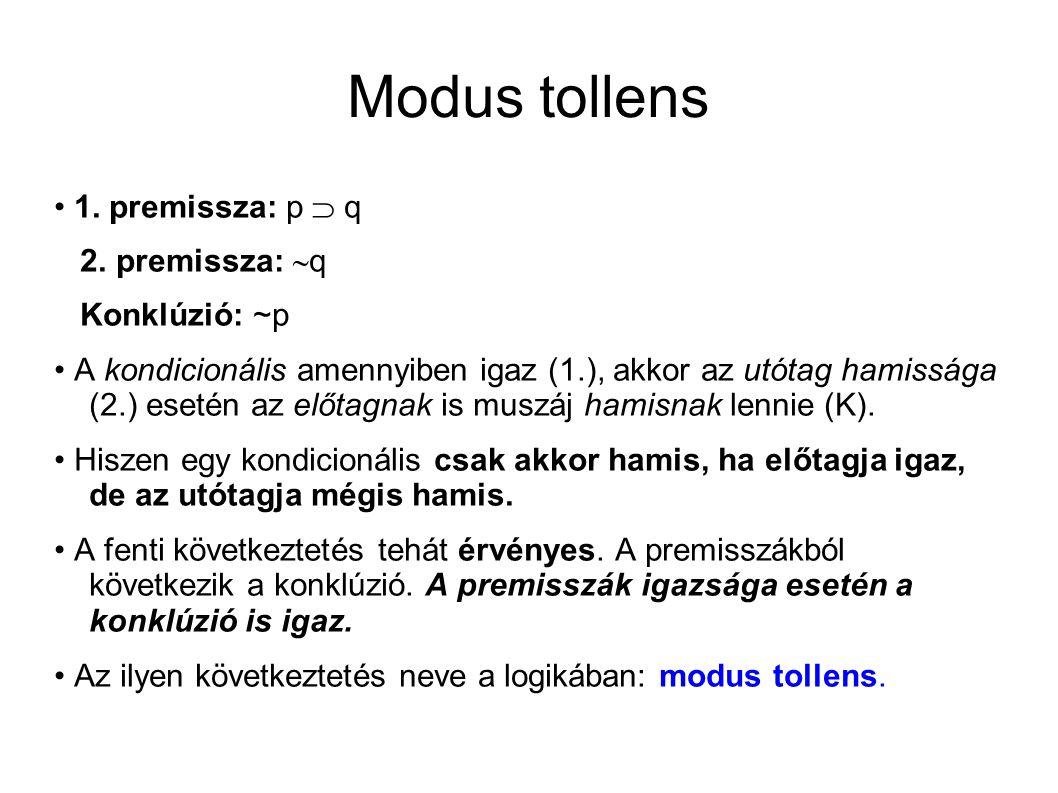Modus tollens 1. premissza: p  q 2.
