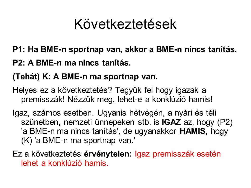 Következtetések P1: Ha BME-n sportnap van, akkor a BME-n nincs tanítás.
