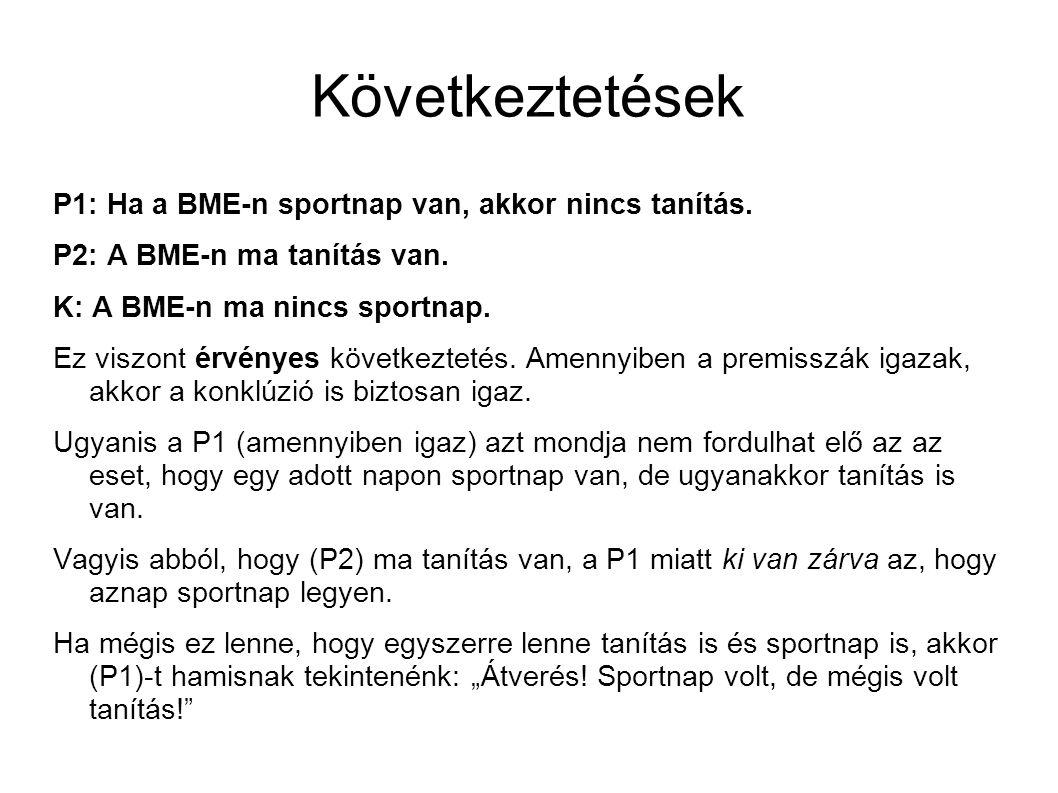 Következtetések P1: Ha a BME-n sportnap van, akkor nincs tanítás.
