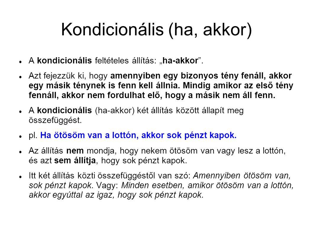 """Kondicionális (ha, akkor) A kondicionális feltételes állítás: """"ha-akkor ."""