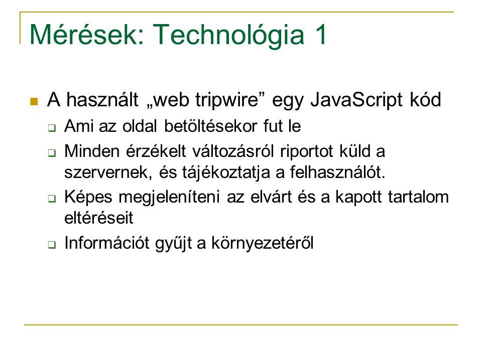 """Mérések: Technológia 1 A használt """"web tripwire"""" egy JavaScript kód  Ami az oldal betöltésekor fut le  Minden érzékelt változásról riportot küld a s"""