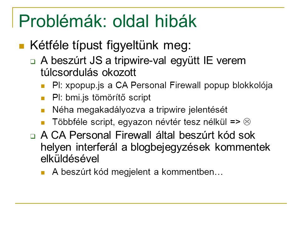 Problémák: oldal hibák Kétféle típust figyeltünk meg:  A beszúrt JS a tripwire-val együtt IE verem túlcsordulás okozott Pl: xpopup.js a CA Personal Firewall popup blokkolója Pl: bmi.js tömörítő script Néha megakadályozva a tripwire jelentését Többféle script, egyazon névtér tesz nélkül =>   A CA Personal Firewall által beszúrt kód sok helyen interferál a blogbejegyzések kommentek elküldésével A beszúrt kód megjelent a kommentben…