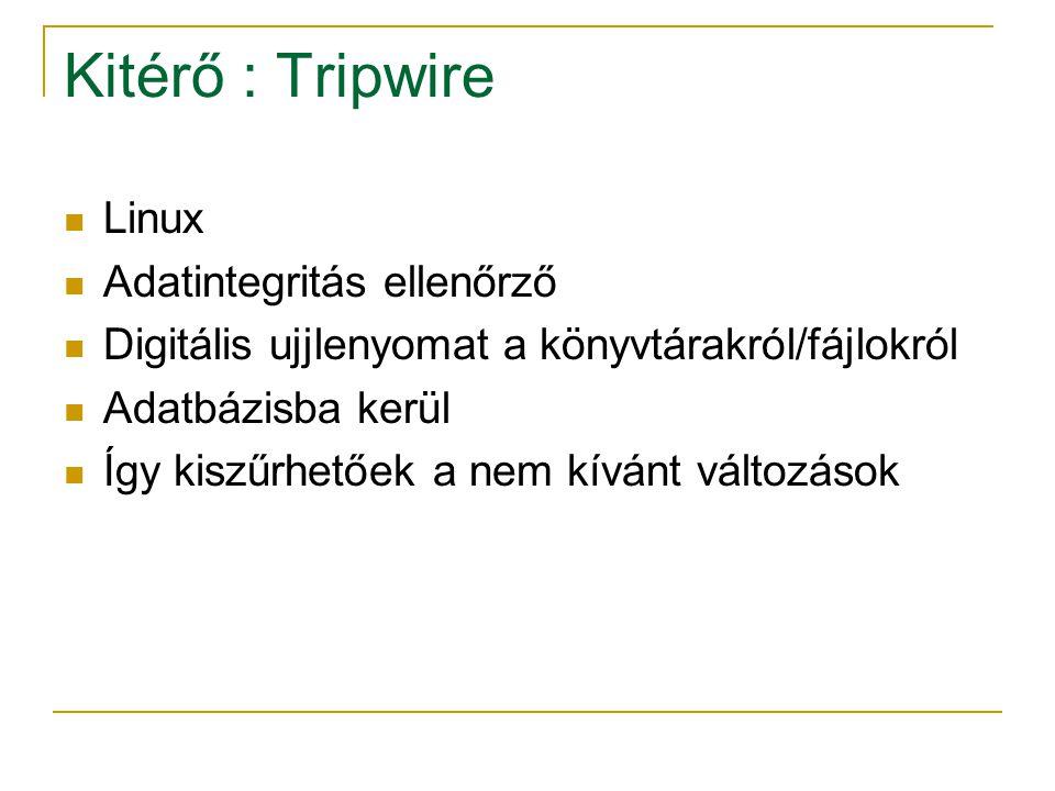 Kitérő : Tripwire Linux Adatintegritás ellenőrző Digitális ujjlenyomat a könyvtárakról/fájlokról Adatbázisba kerül Így kiszűrhetőek a nem kívánt változások