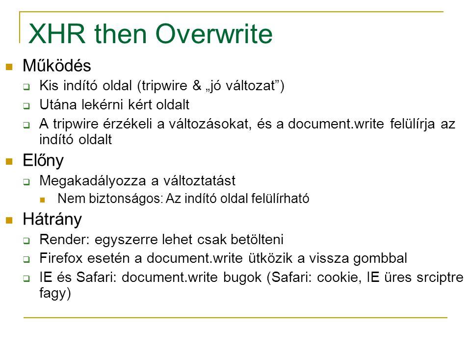 """XHR then Overwrite Működés  Kis indító oldal (tripwire & """"jó változat )  Utána lekérni kért oldalt  A tripwire érzékeli a változásokat, és a document.write felülírja az indító oldalt Előny  Megakadályozza a változtatást Nem biztonságos: Az indító oldal felülírható Hátrány  Render: egyszerre lehet csak betölteni  Firefox esetén a document.write ütközik a vissza gombbal  IE és Safari: document.write bugok (Safari: cookie, IE üres srciptre fagy)"""