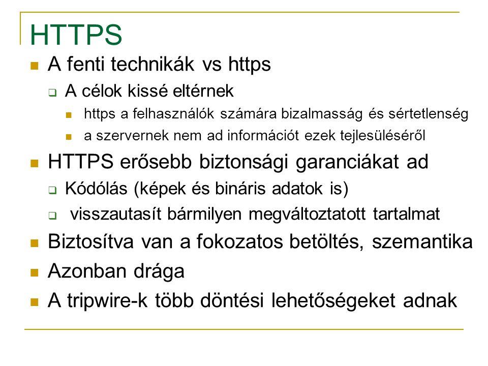 HTTPS A fenti technikák vs https  A célok kissé eltérnek https a felhasználók számára bizalmasság és sértetlenség a szervernek nem ad információt eze