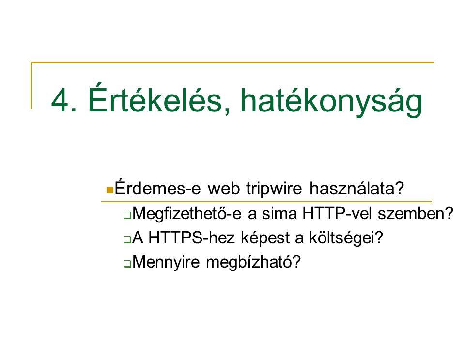 4. Értékelés, hatékonyság Érdemes-e web tripwire használata?  Megfizethető-e a sima HTTP-vel szemben?  A HTTPS-hez képest a költségei?  Mennyire me