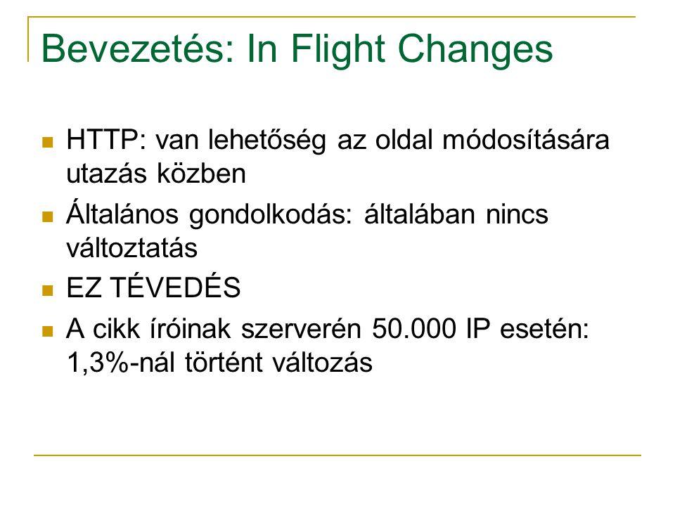 Bevezetés: In Flight Changes HTTP: van lehetőség az oldal módosítására utazás közben Általános gondolkodás: általában nincs változtatás EZ TÉVEDÉS A cikk íróinak szerverén 50.000 IP esetén: 1,3%-nál történt változás