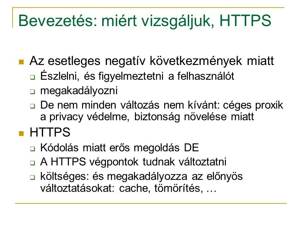 Bevezetés: miért vizsgáljuk, HTTPS Az esetleges negatív következmények miatt  Észlelni, és figyelmeztetni a felhasználót  megakadályozni  De nem mi