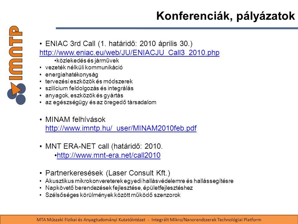 MTA Műszaki Fizikai és Anyagtudományi Kutató i ntézet - Integrált Mikro/Nanorendszerek Technológiai Platform Konferenciák, pályázatok ENIAC 3rd Call (1.