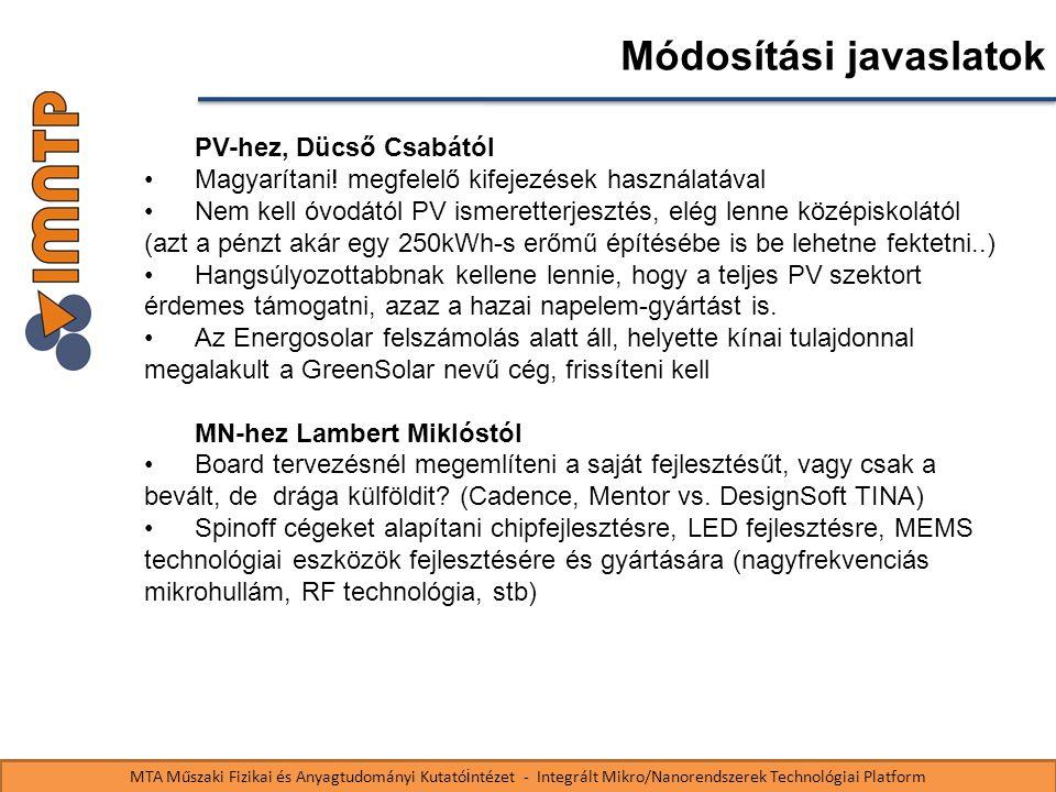 MTA Műszaki Fizikai és Anyagtudományi Kutató i ntézet - Integrált Mikro/Nanorendszerek Technológiai Platform Módosítási javaslatok PV-hez, Dücső Csabától Magyarítani.