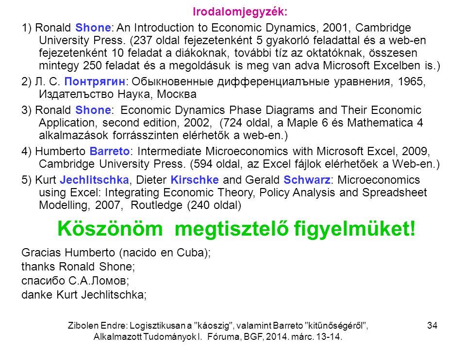 Zibolen Endre: Logisztikusan a káoszig , valamint Barreto kitűnőségéről , Alkalmazott Tudományok I.