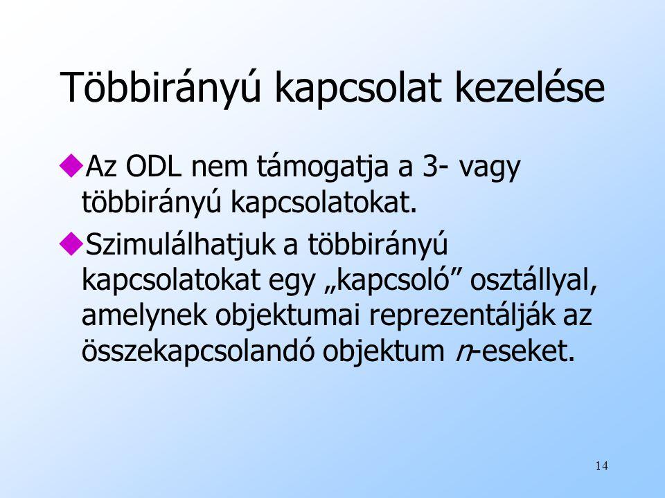14 Többirányú kapcsolat kezelése uAz ODL nem támogatja a 3- vagy többirányú kapcsolatokat.