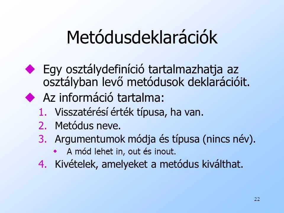 22 Metódusdeklarációk uEgy osztálydefiníció tartalmazhatja az osztályban levő metódusok deklarációit.